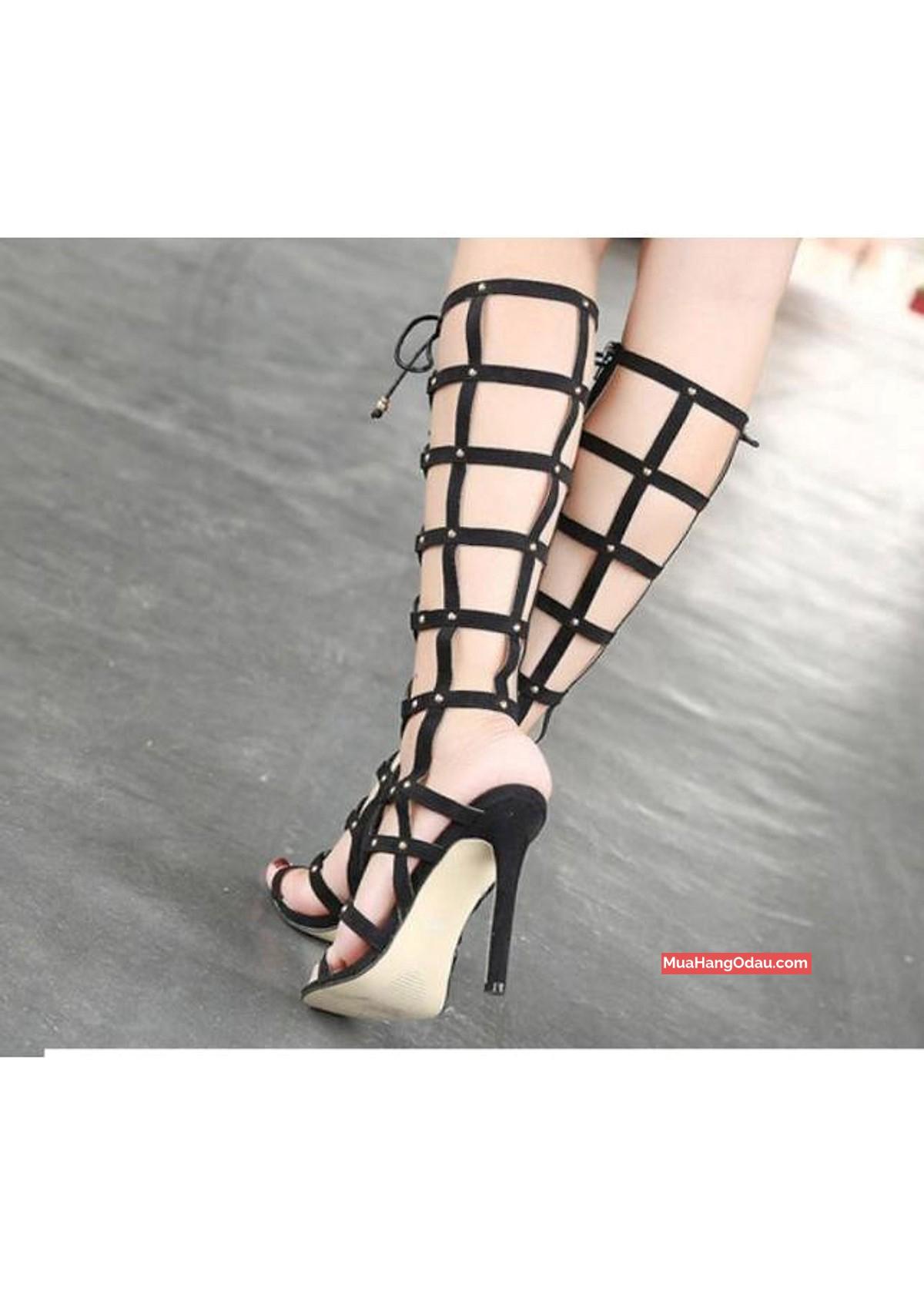 Giày sandal cao gót chiến binh cột dây ngang gối 2